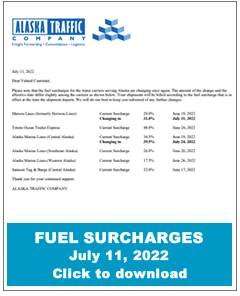 Alaska Traffic - fuel surcharges